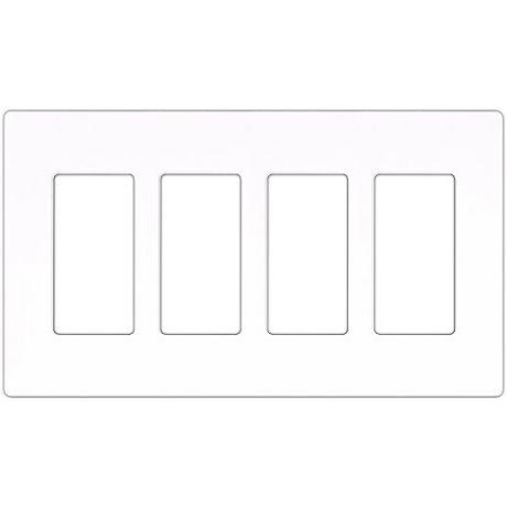 Lutron Claro White 4 Gang Screwless Faceplate