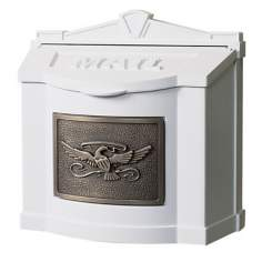 White With Antique Bronze Wallmount Mailbox
