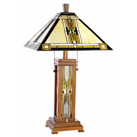 Walnut Mission Style with Night Light Table Lamp