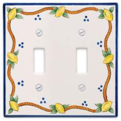 Italian Lemons Double Toggle Ceramic Wall Plate
