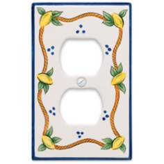 Italian Lemons Double Outlet Ceramic Wall Plate