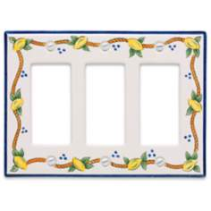Italian Lemons Triple Rocker Ceramic Wall Plate