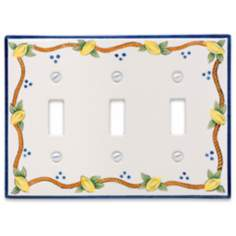 Italian Lemons Triple Toggle Ceramic Wall Plate
