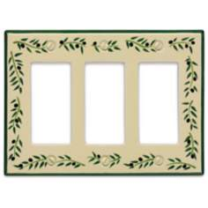 Italian Olive Triple Rocker Ceramic Wall Plate