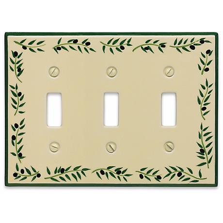 Italian Olive Triple Toggle Ceramic Wall Plate