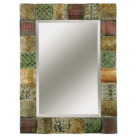 "Uttermost Ganya Embossed Metal 41"" High Wall Mirror"
