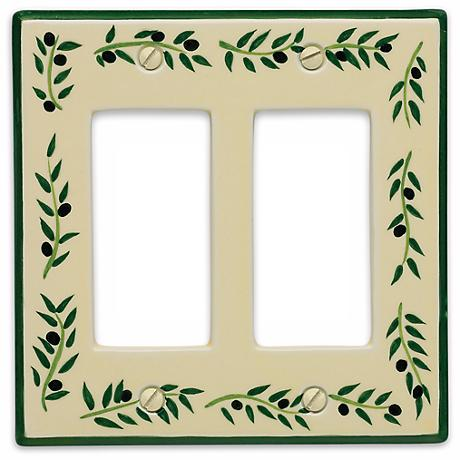 Italian Olive Double Rocker Ceramic Wall Plate