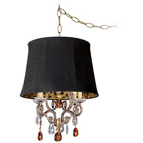 Leila Gold Designer Faux Suede Shade Swag Chandelier