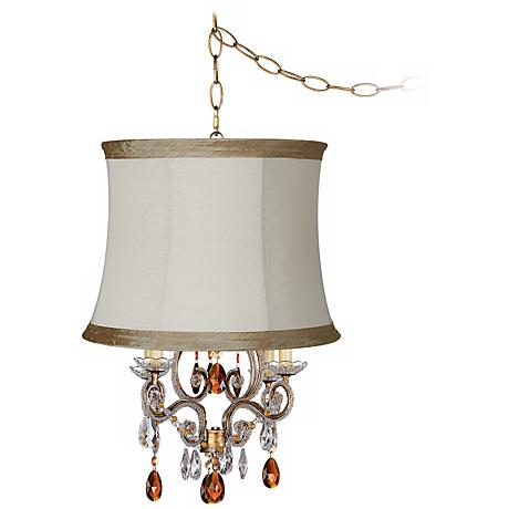 Leila Gold Designer Linen Shade Plug-In Swag Chandelier