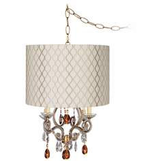 Leila Gold Embroidered Designer Shade Plug-In Chandelier