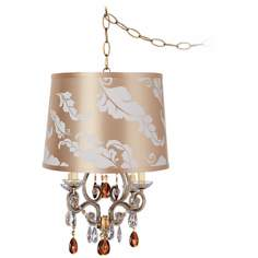 Leila Gold Designer Print Shade Plug-In Swag Chandelier