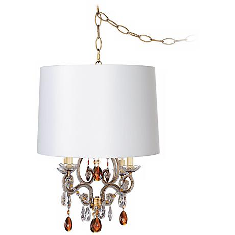 Leila Gold Designer White Shade Plug-In Swag Chandelier