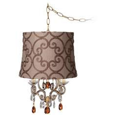 Leila Gold Designer Burlap Shade Plug-In Swag Chandelier