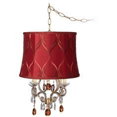 Leila Gold Merlot Designer Shade Plug-In Swag Chandelier