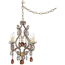 Leila Amber Gold Finish Swag Plug-In Chandelier