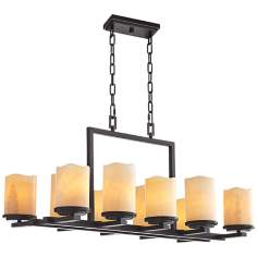 "Luminous Rustic Ebony Finish 10-Light 37"" Wide Chandelier"
