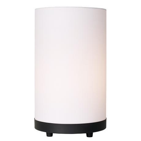 White Linen Cylinder and Black Base Uplight