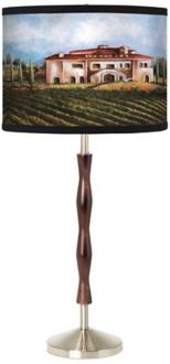 Tuscan Wine Country Giclee Walnut Twist Table Lamp (77086-H5273)