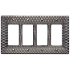 Mandalay Brushed Nickel Quad Rocker Wall Plate