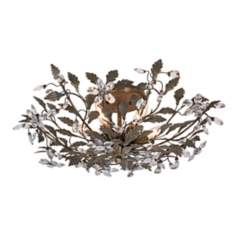 "Pewter Leaf Six Light 26"" Wide Ceiling Fixture"