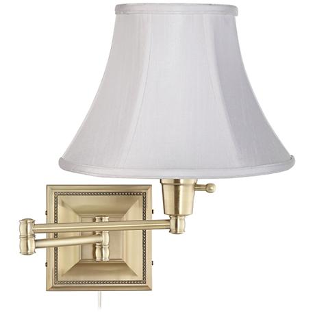 White Bell Shade Brass Beaded Plug-In Swing Arm Wall Lamp