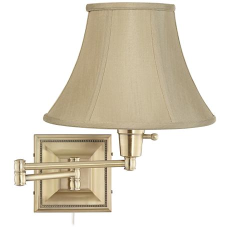 Taupe Bell Shade Brass Beaded Plug-In Swing Arm Wall Lamp