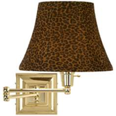 Leopard Shade Brass Beaded Plug-In Swing Arm Wall Lamp