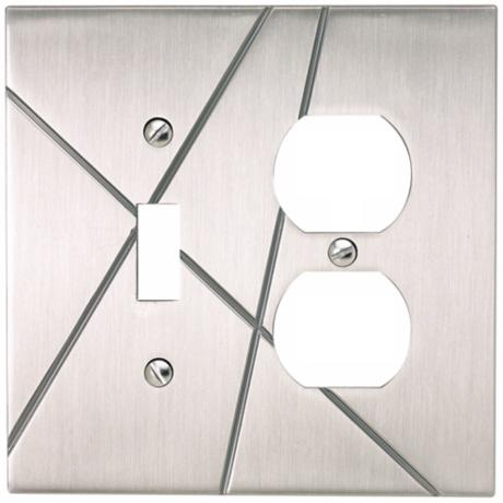 Modernist Brushed Nickel Combo Outlet Wall Plate