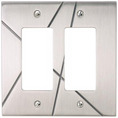 Modernist Brushed Nickel Double Rocker Wall Plate