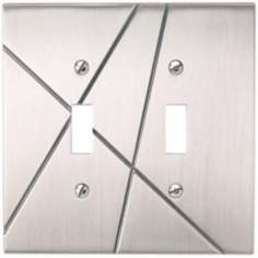 Modernist Brushed Nickel Double Toggle Wall Plate