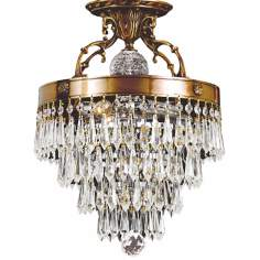 "Traditional Crystal and Brass 12"" Wide Ceiling Light Fixture"