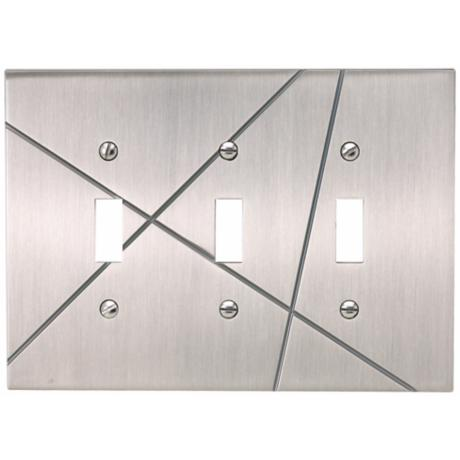 Modernist Brushed Nickel Triple Toggle Wall Plate