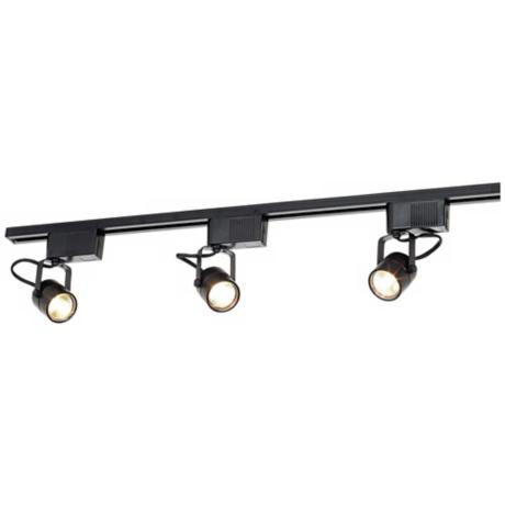LED or Halogen Pro Track Black 3-Light Low Voltage Track Kit
