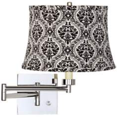 Black Damask Shade Chrome Plug-In Swing Arm Wall Lamp