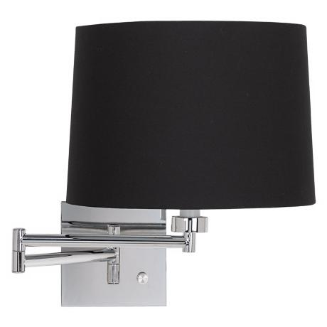 Black Fabric Drum Shade Plug-In Swing Arm Wall Lamp