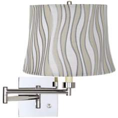 Grey Curved Stripes Drum Shade Chrome Plug-In Swing Arm Wall Lamp