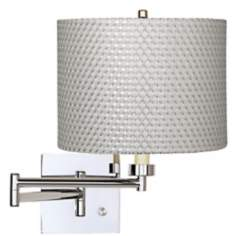 White and Silver Weave Chrome Plug-In Swing Arm Wall Lamp