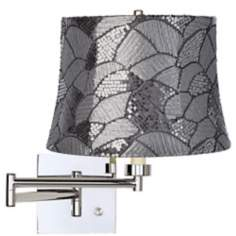 Gray Sequins Chrome Plug-In Swing Arm Wall Lam