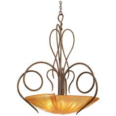 Tribecca Tortoise Shell with Flame Glass Large Pendant Light