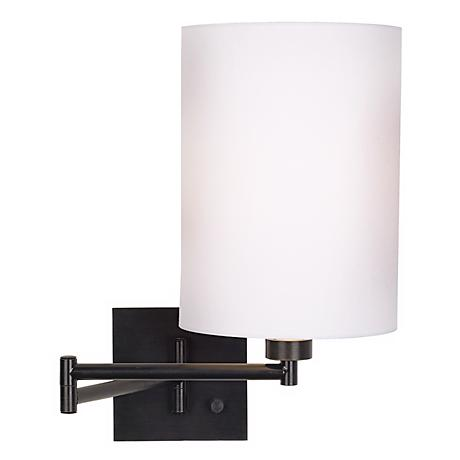 Dimmable White Drum Shade Espresso Swing Arm Wall Lamp