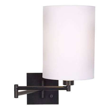Dimmable White Drum Shade Espresso Bronze Swing Arm Wall Lamp