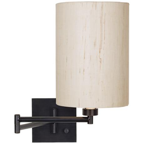 Dimmable Ivory Linen Shade Espresso Bronze Swing Arm Wall Lamp