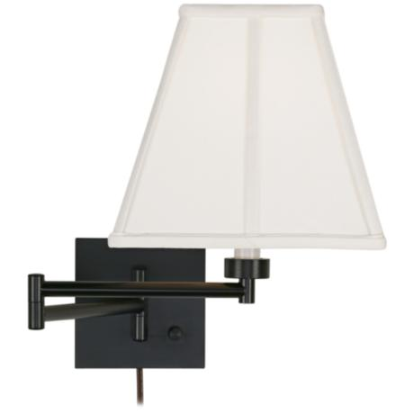 Ivory Square Shade Espresso Bronze Plug-In Swing Arm Wall Lamp