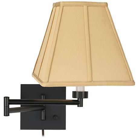 Square Wall Lamp Shades : Tan Square-Cut Shade Espresso Plug-In Swing Arm Wall Lamp - #79412-23976 www.lampsplus.com