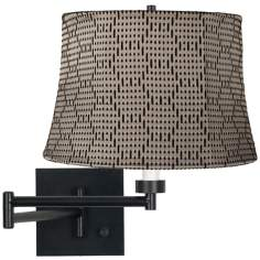 Binary Drum Espresso Plug-In Swing Arm Wall Lamp