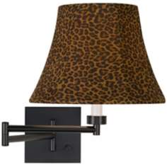 Leopard Shade Espresso Bronze Plug-In Swing Arm Wall Lamp