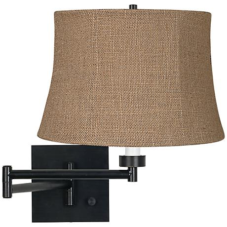 Natural Burlap Espresso Plug-In Swing Arm Wall Lamp