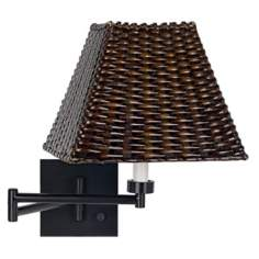 Espresso Bronze with Wicker Square Shade Swing Arm Wall Lamp