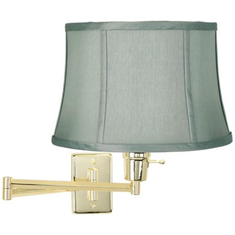 Brass with Spa Blue Shade Plug-In Swing Arm Wall Lamp
