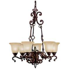 Fleur-de-lis Scrolls Six Light Chandelier